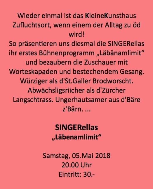 Mir fröie üs uf morn! Da spiele mer nämlech im KleinenKunsthaus in Zuzwil BE. 🙌🏻 Es het nume no wenigi Plätz: www.kleineskunsthaus.ch  #singerellas #läbenamlimit #uftritt #bern #vorfröid