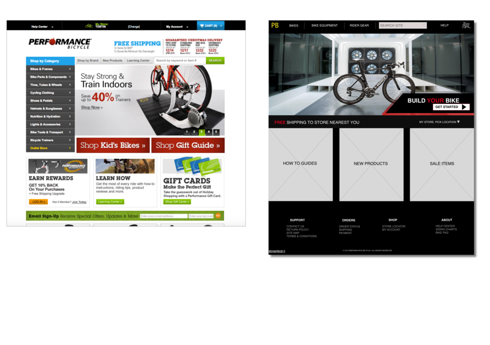 LEFT-PERFORMANCE BIKE SITE                                 RIGHT- REDESIGN