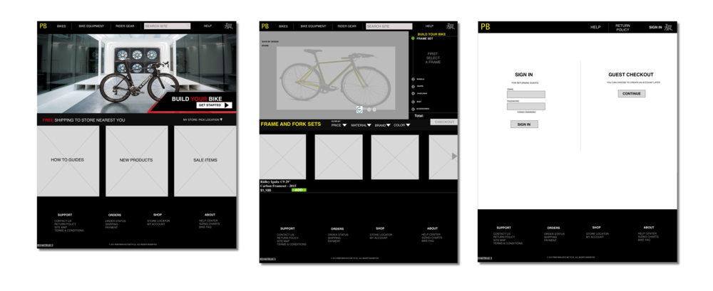 LANDING PAGE         BUILD YOUR BIKE   CHECKOUT