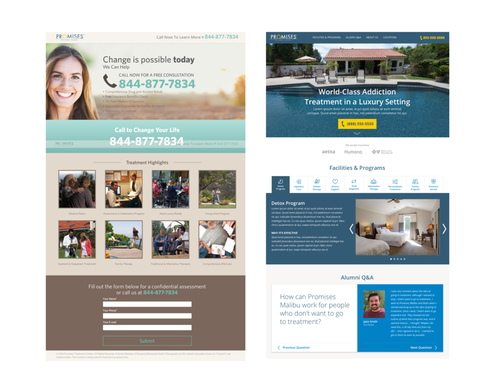 Left-Original Landing Page     Right-Redesign