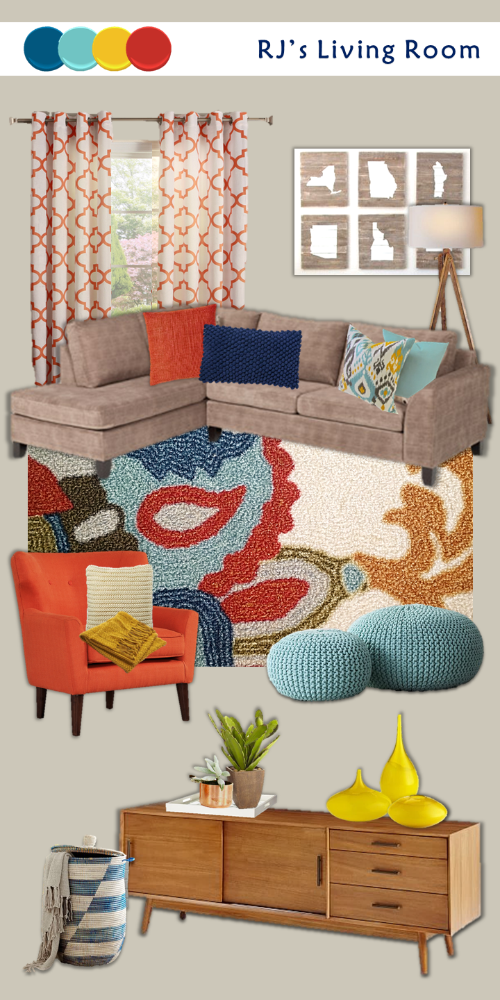 colorful contemporary living room mood board