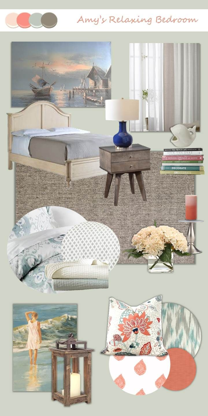 relaxing coastal bedroom mood board