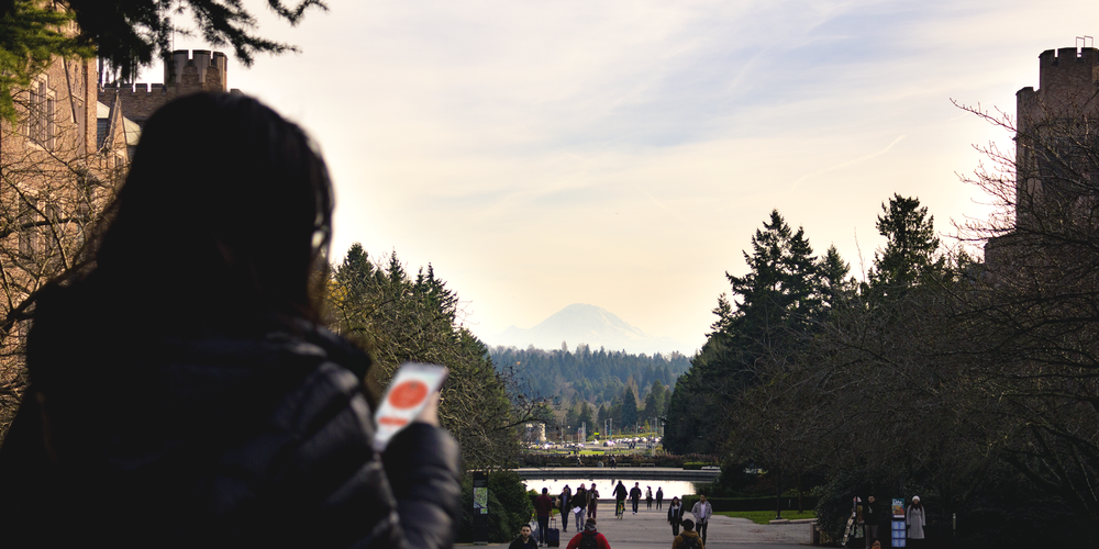 Sophia using Drop-In with a view of Mount Rainier