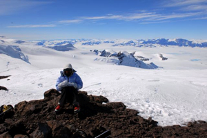 Aïnhoa resting at last stop before summit: we're all very tired after six hours of skiing uphill against severe winds.