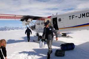 Unloading the Twin Otter.