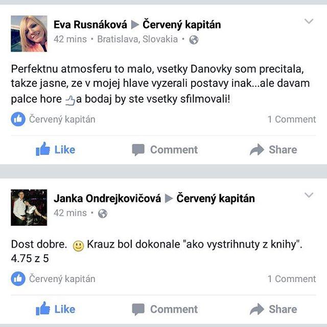 Na Facebooku nám pribudli prvé reakcie divákov z predpremiér. Bol už niekto z vás? Ako to vidíte?  #rudykapitan #cervenykapitan
