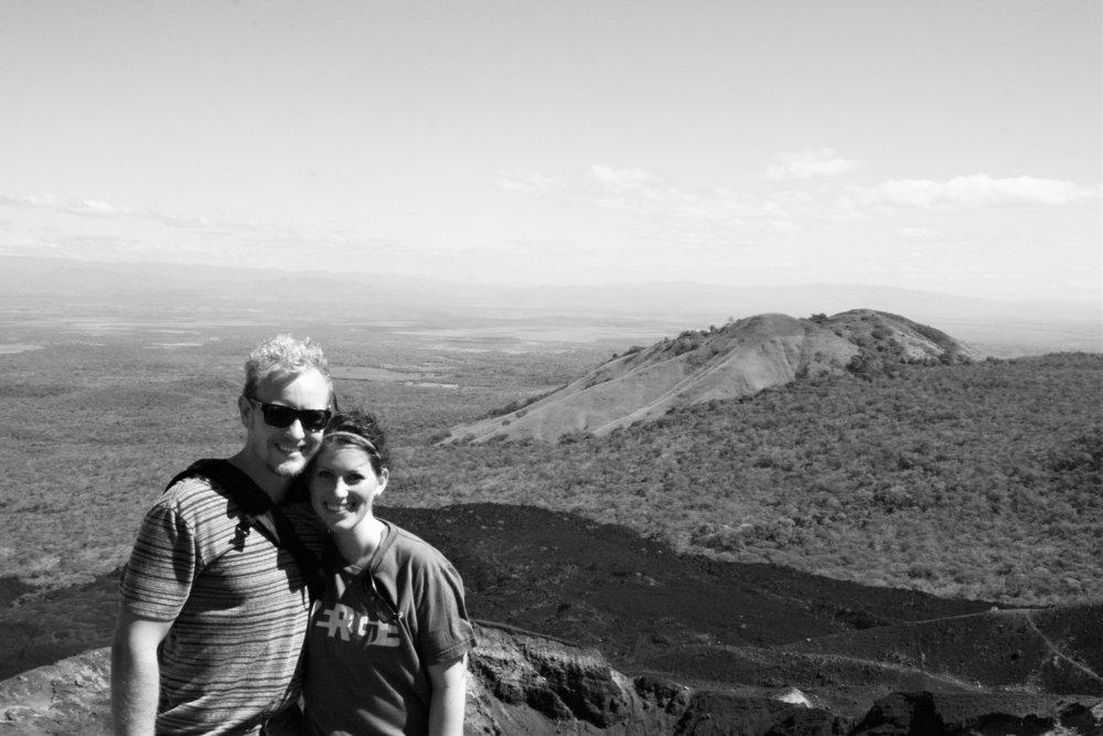 Kurtis & Carrie on the Edge of   Cerro Negro  near Leon