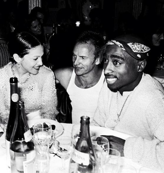 90shiphopraprnb :      Tupac Shakur, Madonna and Sting (1994)      L