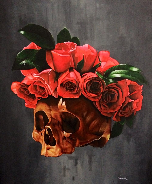 """""""Con los colochos hechos""""   Acrylic on canvas, 1mt x 130 cms  2014"""