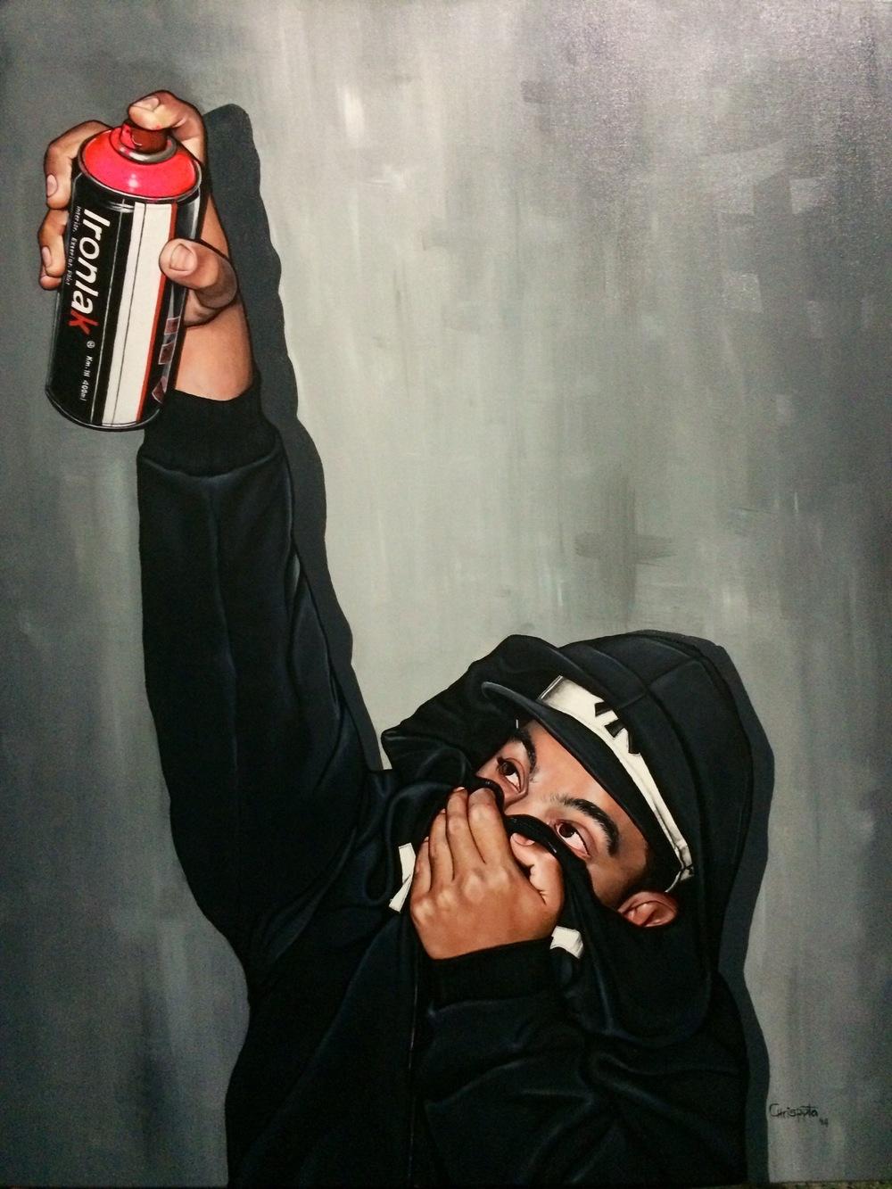 """""""Tagger""""   Acrylic on canvas, 80cms x 1mt.  2014"""