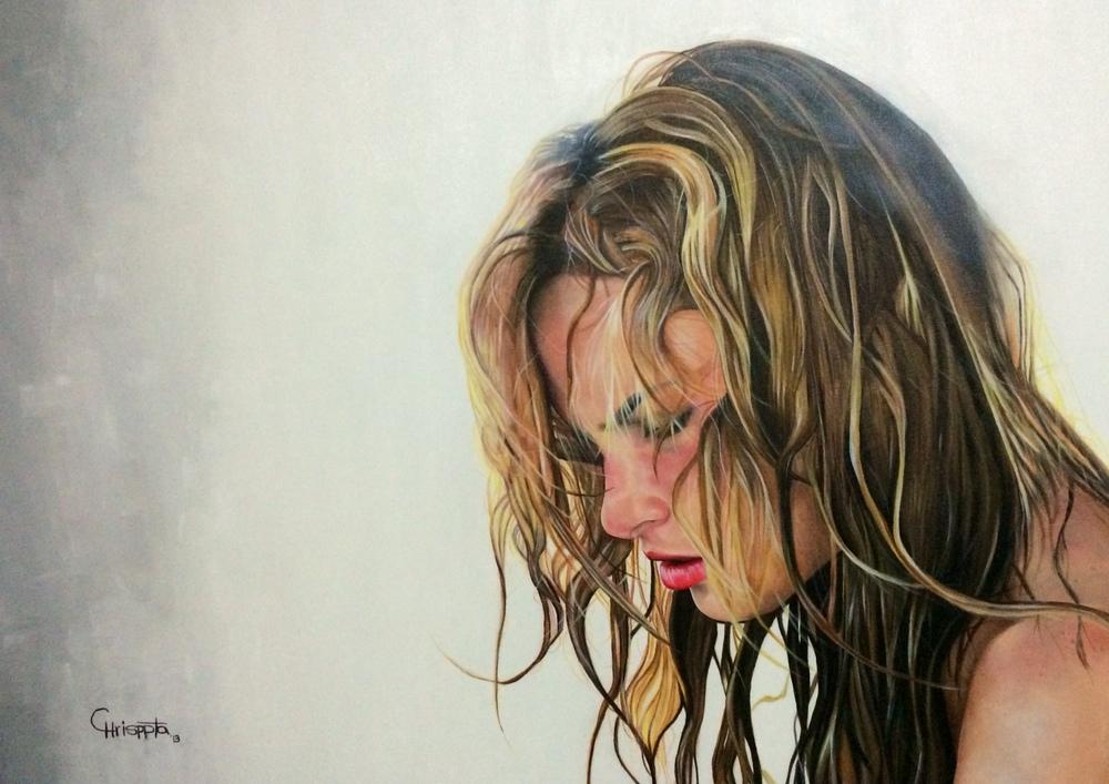 """La niña de la pijama rosada""   Acrylic on canvas, 75cms x 1mt  2013"