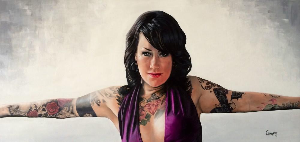 """Tattoo Artist""   Acrylic on canvas, 1mt x 50cms  2012"