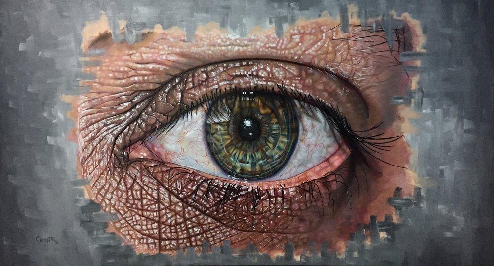 """""""Illusional Vortex""""   Acrylic on canvas, 150cms x 80cms  2017"""