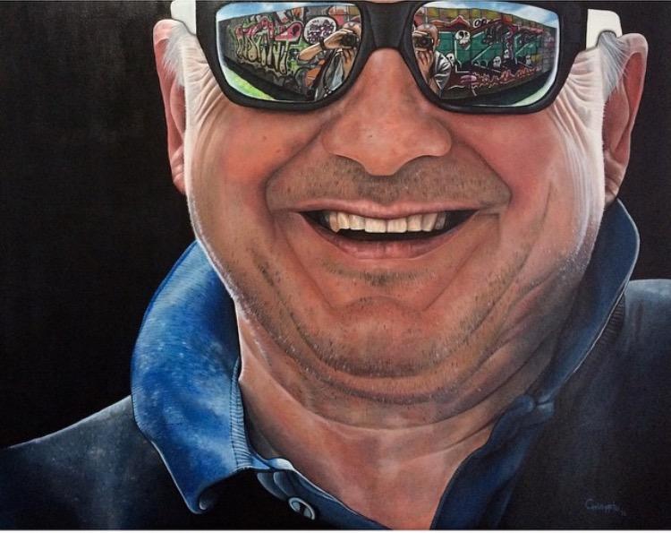 """""""Street art observer""""   Acrylic on canvas, 1mt x 80cms  2015"""