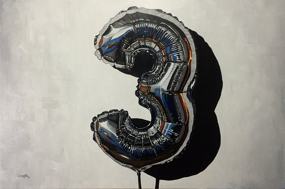 """""""El poder del número tres """"   Acrílico sobre tela, 60cms x 90cms  2016"""
