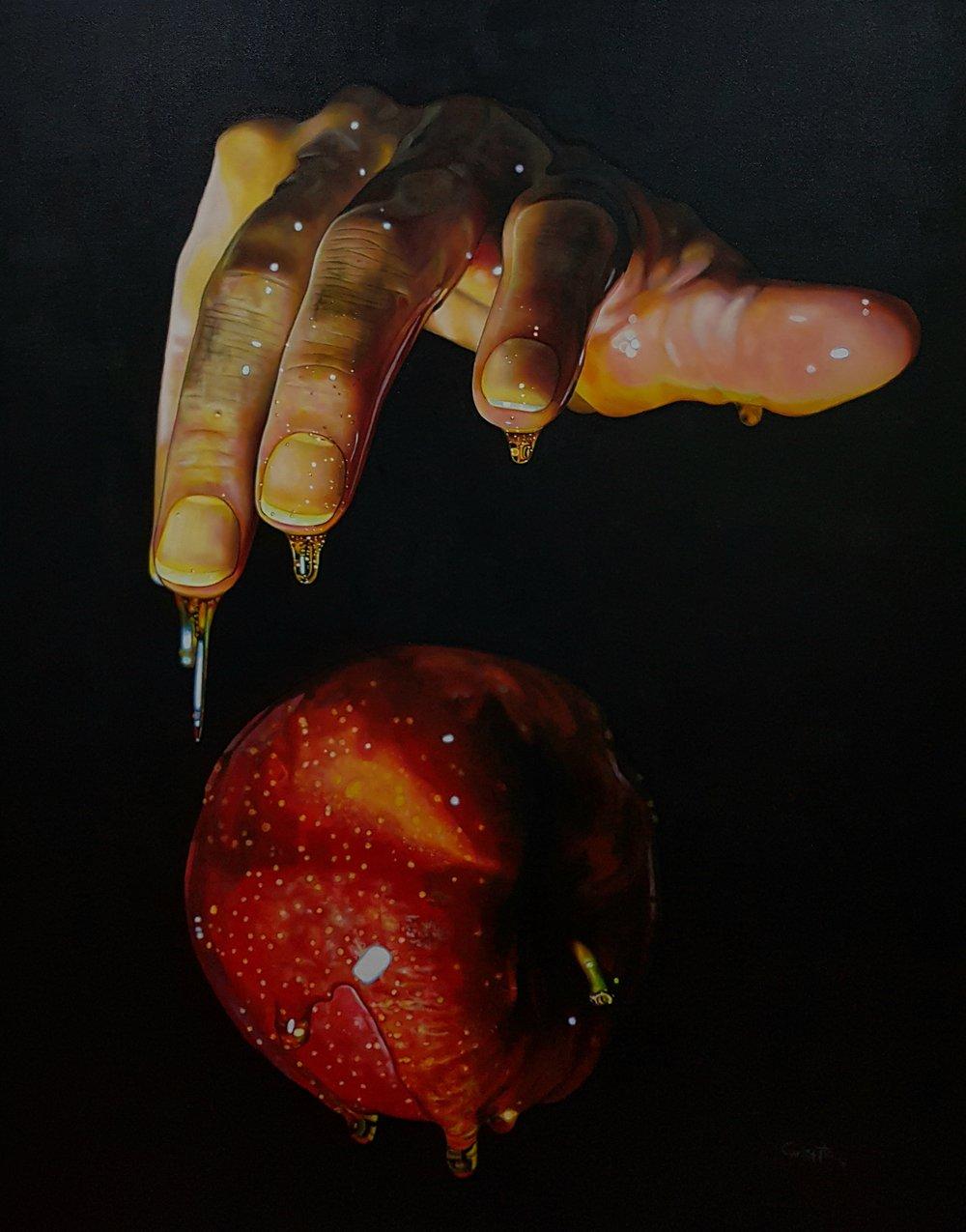 """""""9.8""""   Acrylic on canvas, 1mt x 82cms  2018"""
