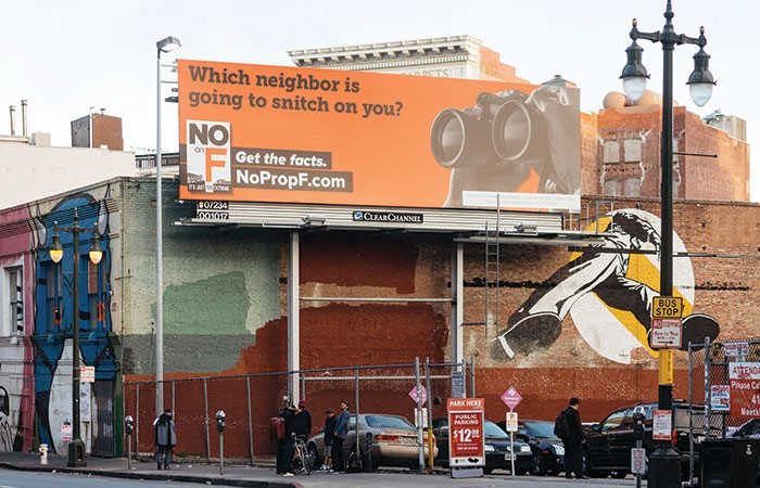 An Airbnb-financed group put this billboard up in San Francisco before a ballot initiative in November that would have limited the home-sharing service. After helping defeat Proposition F, Airbnb pledged to cooperate with local governments. Jason Henry/The New York Times