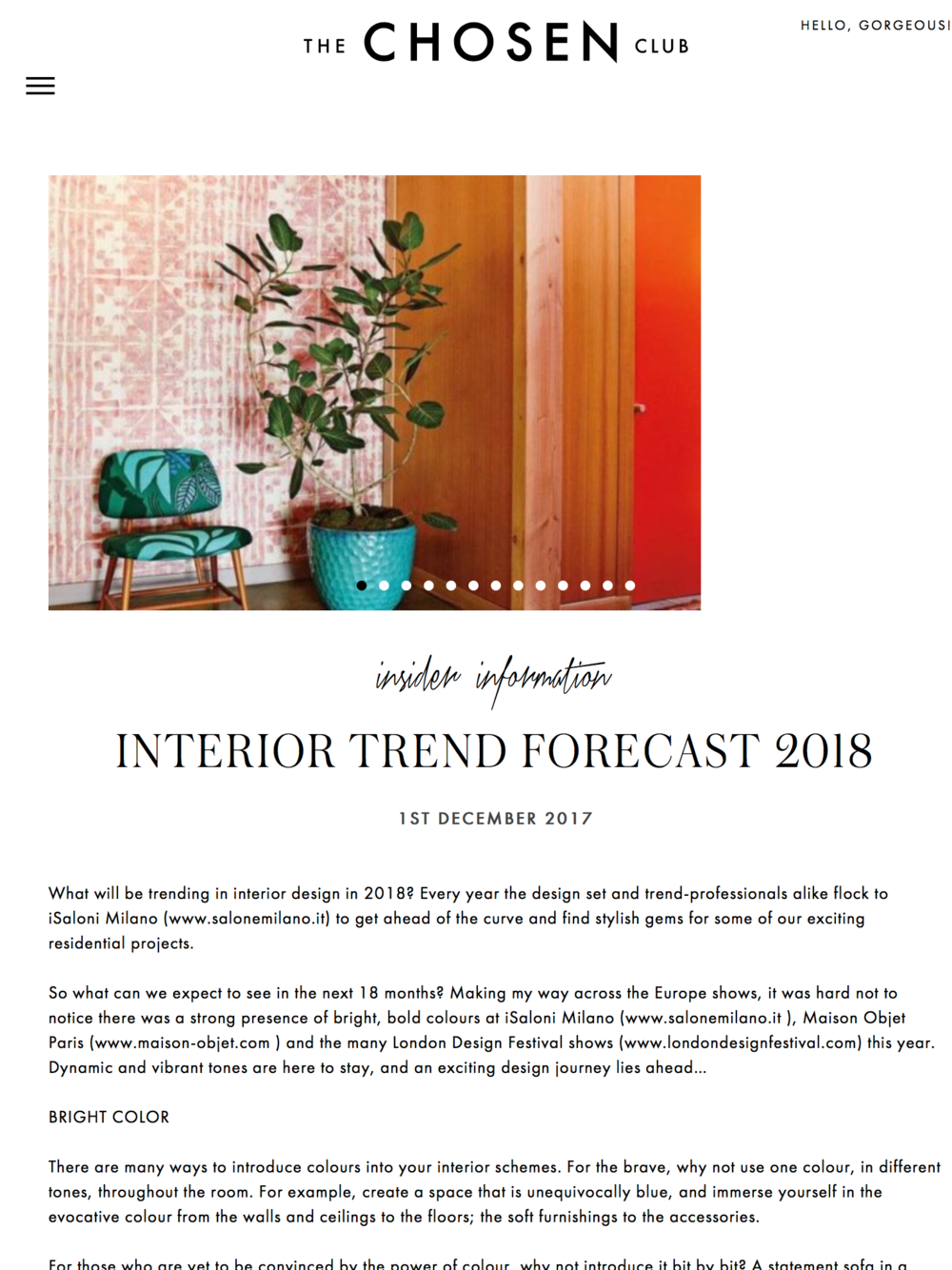 The Chosen Club, Interior Trend Forecast 2018. Designed by Woulfe, Brian Woulfe