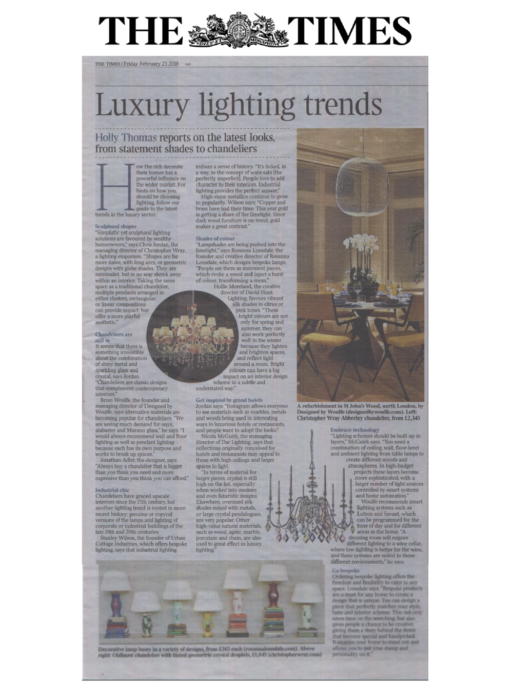 The Times, Designed by Woulfe, Luxury Lighting Trends