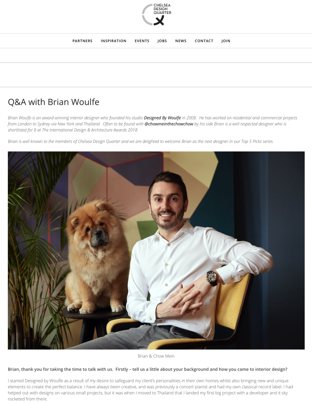 Designed by Woulfe , Q&A with Chelsea Design Quarter