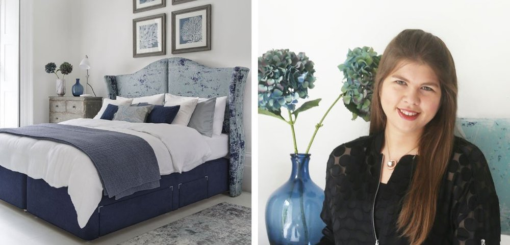 Right - Amira Hashish. Evening Standard Digital Editor (Features) and Design Columnist  Left - One of her creations for The Hypnos Amira Hashish Bed Collection