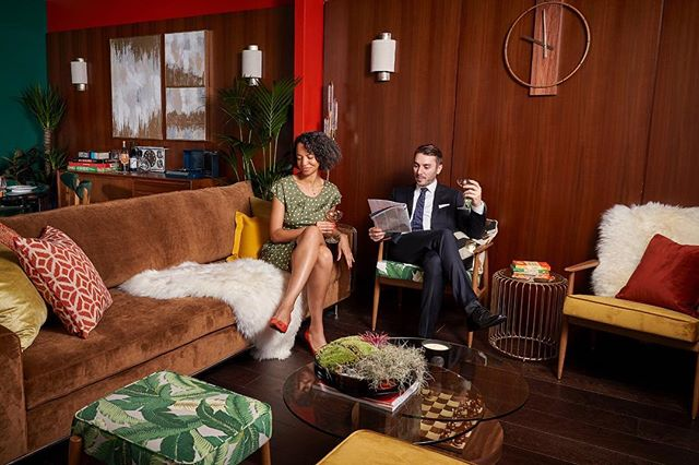 Wrapping up the end of LDF with the opening of the #DreamHouzz for @houzzuk  I had the pleasure of collaborating with @claregaskininteriors on this little project.  Here's a picture from our #MadMen inspired photoshoot yesterday.  #DreamHouzz @HouzzUK  #PopUp by : #DesignedbyWoulfe @dbw_interiors &  #ClareGaskinInteriors @claregaskininteriors  #Madmen #MidCentury #MidCenturyVibes  Wall panelling #Shadbolt  @ShadboltInternational  Paints from the inspiring new #dulux love collection. @duluxuk  PhotoCredit : @NickSmithPhoto
