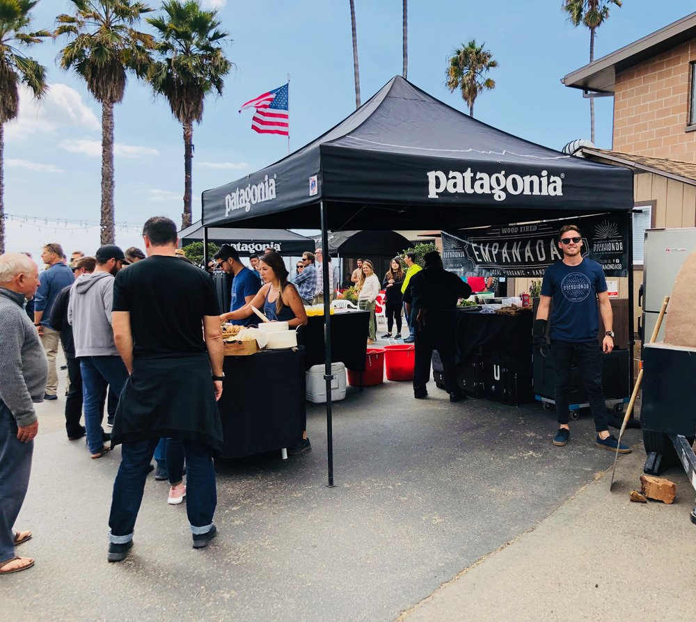 2018 Patagonia Sales Meeting in Ventura, CA — Yvonne (founder) waiting to get his empanadas ;)
