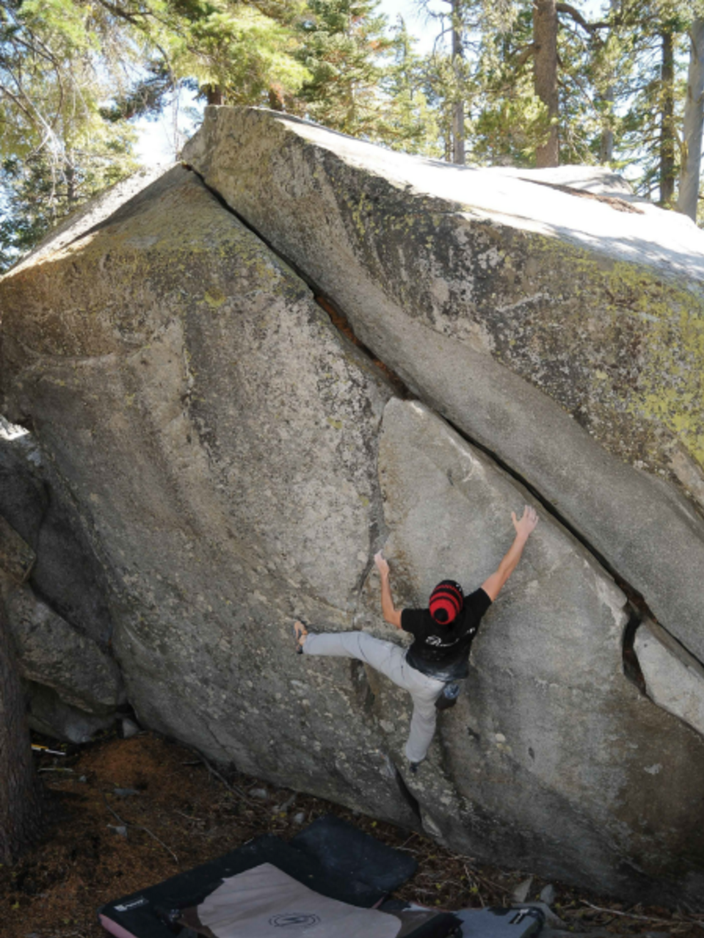 "Jason flashing ""Shedding the Light"" v5. photo by Dave Hatchett"