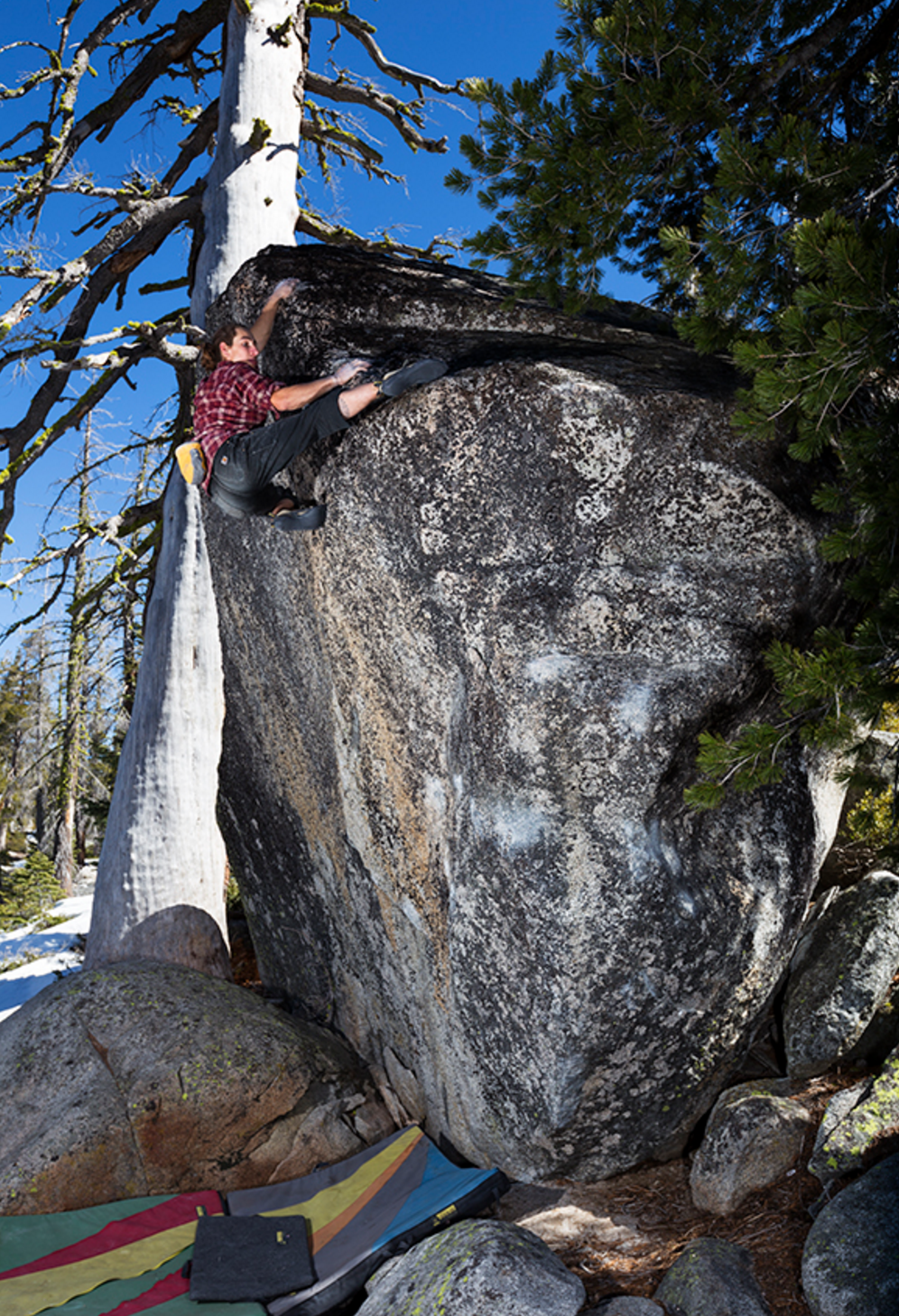 "Roman Yalowitz on the second ascent of ""Flake Audrain Sit"" v7 PHOTO CRED: JON THOMPSON"