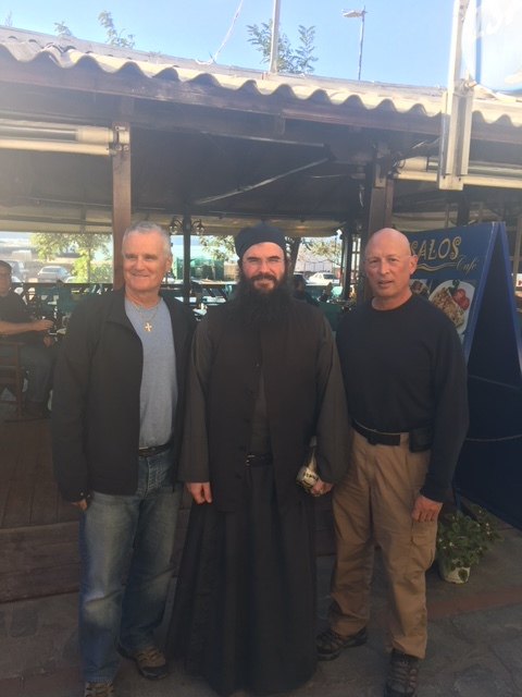 Mike, Fr. Anthimos of the Skete of St. Anna, and Larry in Ouranoplis