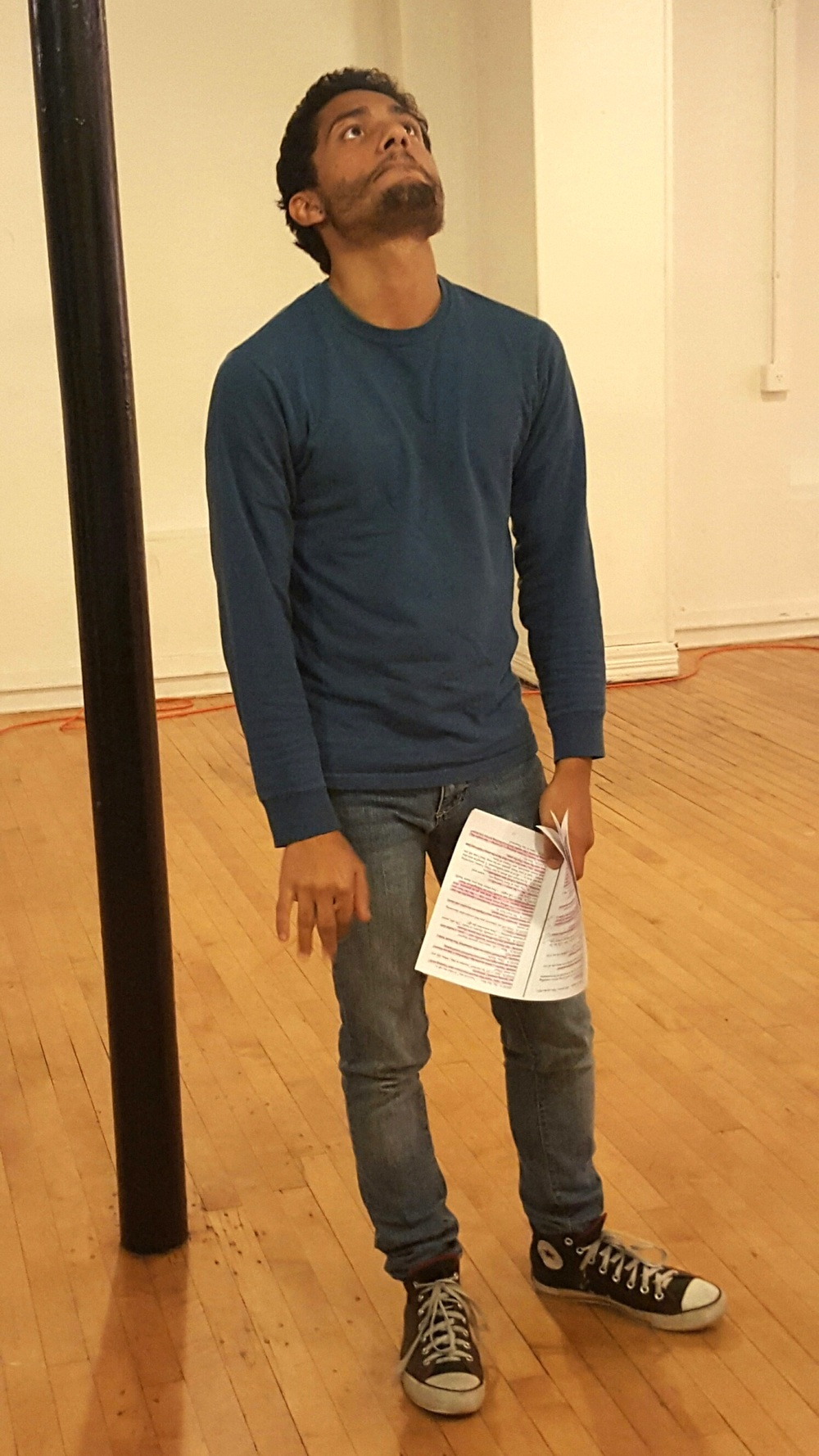 IN REHEARSAL: Christopher Sylvie plays Nihar, the mysterious youth who is on the run from the King of Shadows in a play by Roberto Aguirre-Sacasa, presented by Janus Theatre.