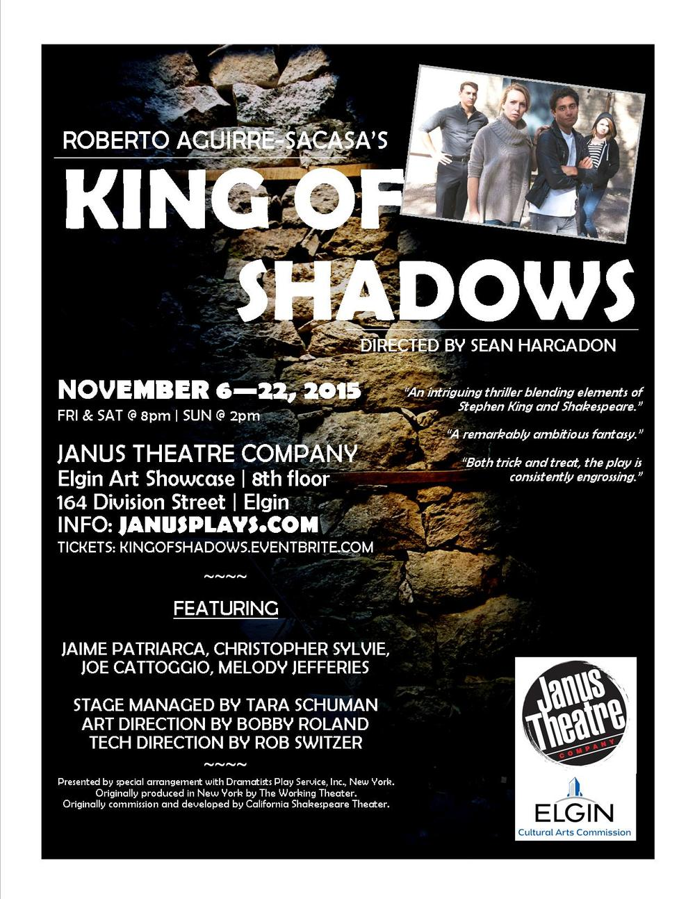 The King of Shadows poster, designed by the Janus Theatre Company.
