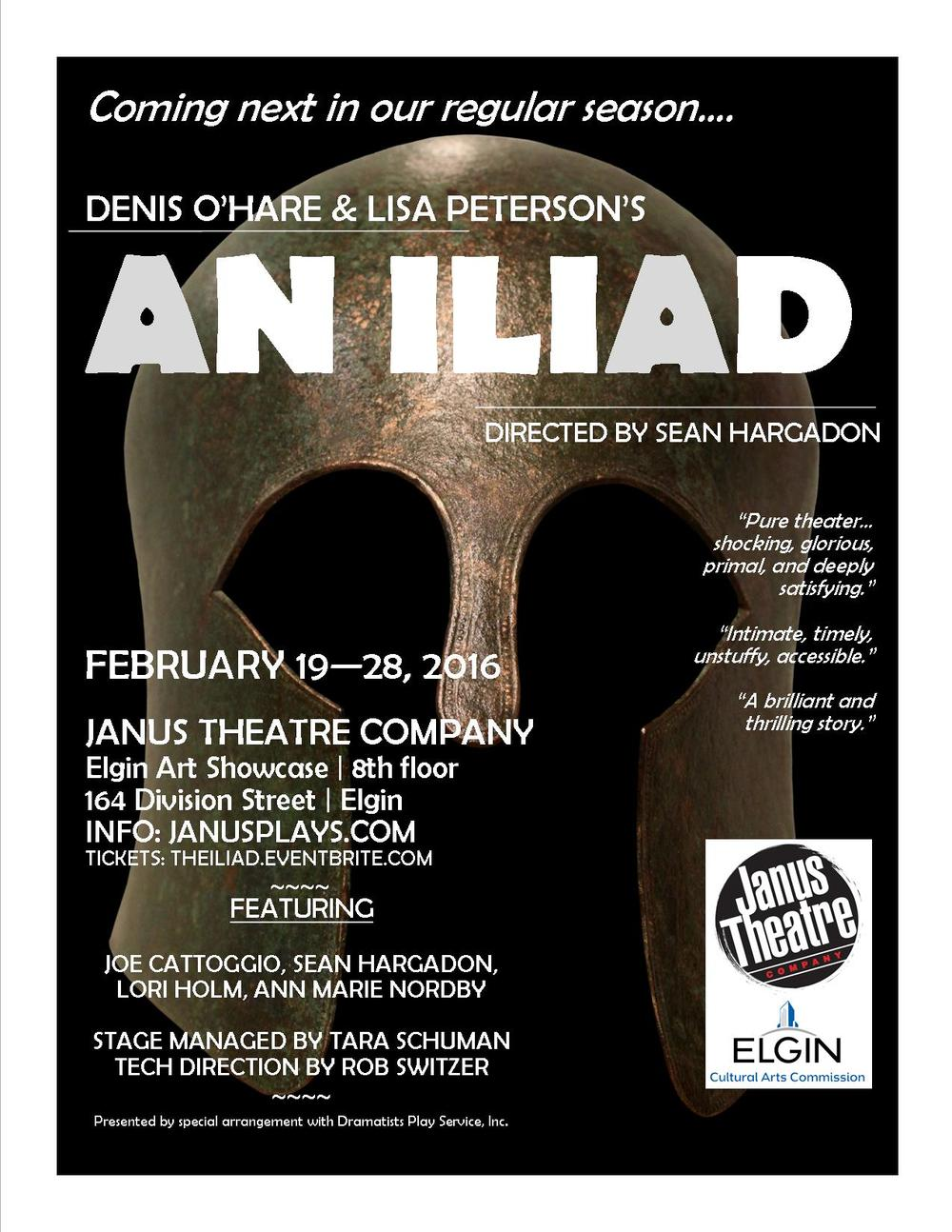 An Iliad poster designed by Janus Theatre Company