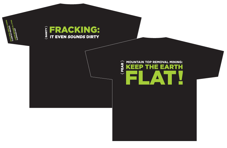 """Fracking T-shirt Client: Sierra Club Role: Design and production of T-shirt for the """"Restore Sanity"""" rally in Washington DC."""