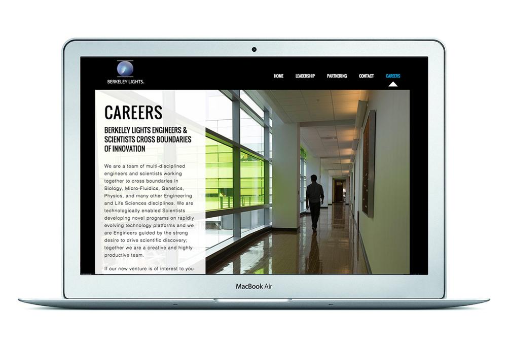 Client: Berkeley Lights, Inc. Role: Design of website built with Wordpress