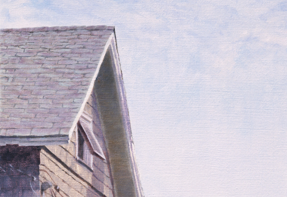 (a) 100% lft house roof and sky crop (a)  Between 2 Houses, Oil on Canvas, 27 in X 40 in, 2006, Jack Hoyer, 125MB for download copy.jpg