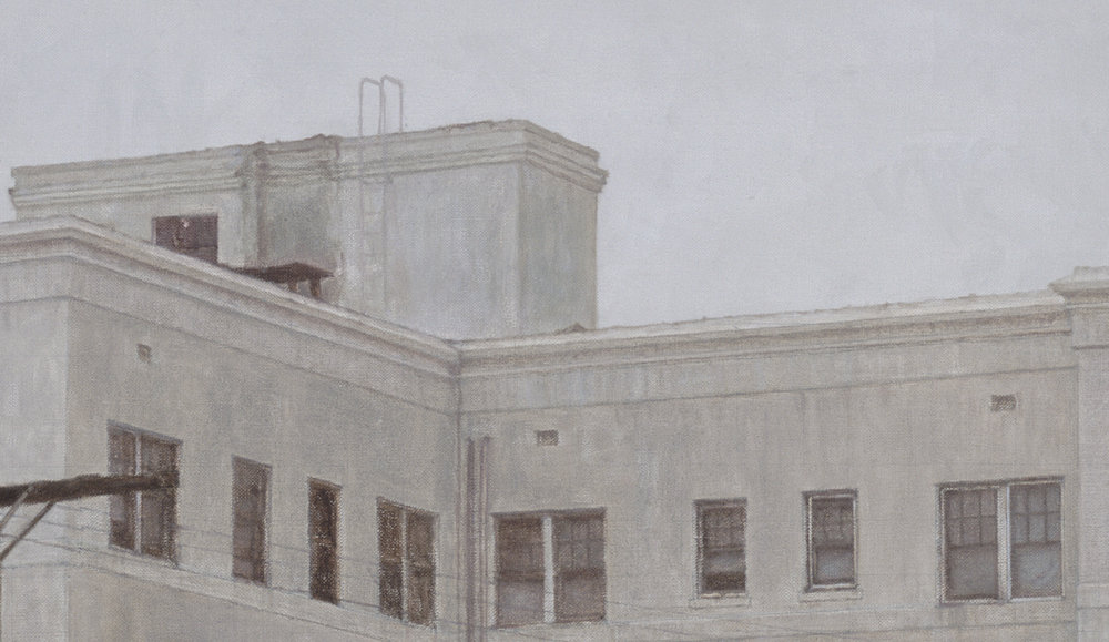 Wilshire Center Building  (Detail), 2015 Oil on linen 40 x 70 inches