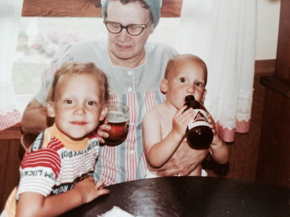 David, beer in hand, with Grandma Bernie and his brother Mike.