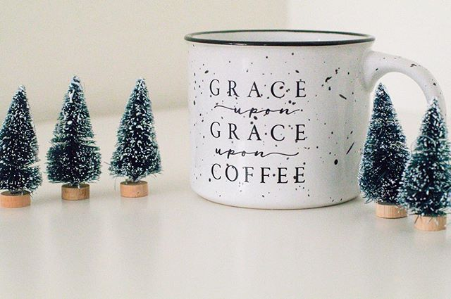 "Grace upon grace upon coffee☕️ ⠀⠀⠀・・・・・・・・・ How adorable is this mug and these little trees?!? This has been my go to cup since we are now experiencing some ""cold"" weather! Haha It is constantly being filled with yummy coffee and hot chocolate! ⠀⠀⠀・・・・・・・・・ I am also so happy to announce that I get to work with such an amazing company @camplight_apparel they have the cutest products and also with each purchase you help feed malnourished children! Head over and check them out! ・ ・ ・ ・ ・ #cup #coffee #coffeetime #flatlay #products #brandrep #brandenthusiast #christmas #holidays #coffeelover #hotcocoa #canon #trees #target #photography #blogger"