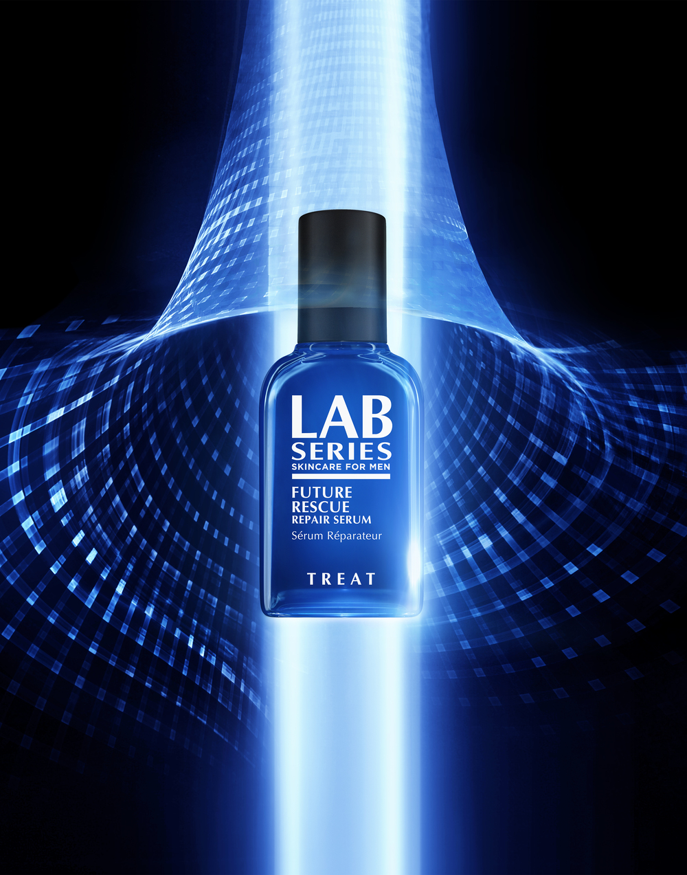 Over the past two years I worked closely with Lab Series, a division of Estee Lauder, on a number of different projects involving product visualizations, web animations, specially designed display units, and final images for print. The image above is the marketing still for the new Future Rescue Repair Serum that was based on the animation I developed below.