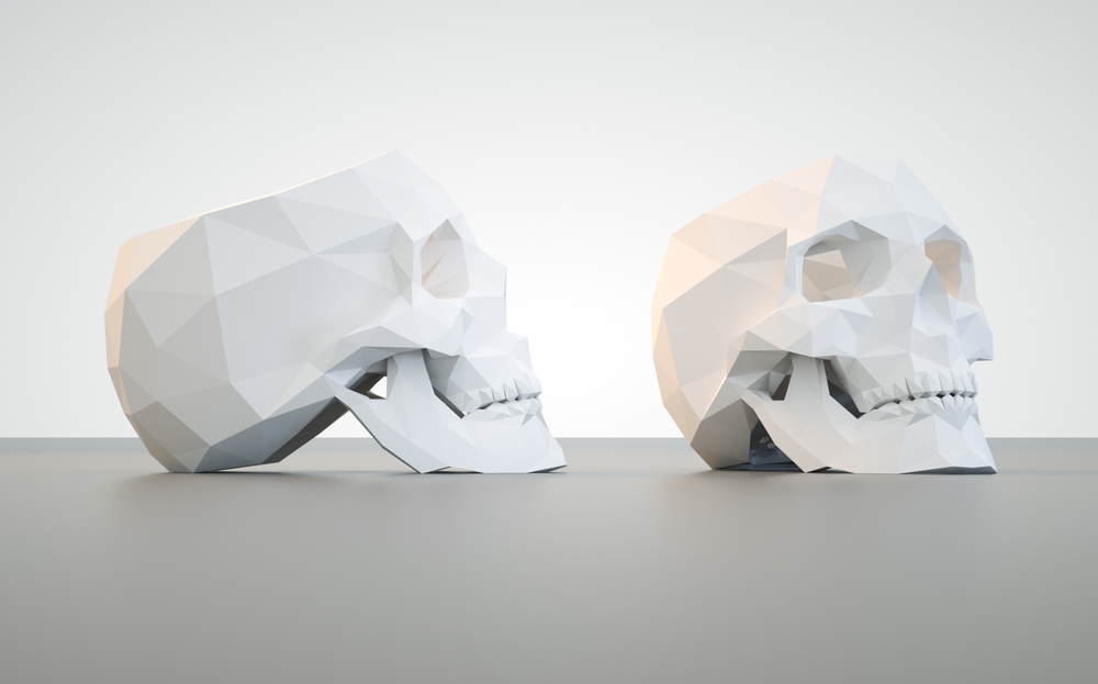 This lowpoly skull planter was design for the reception desk at shootdigital and was printed on a 3D Systems powder based printer. It is created to be a fully functional flower pot equipped with drainage holes and a tray that catches excess water (not pictured here).