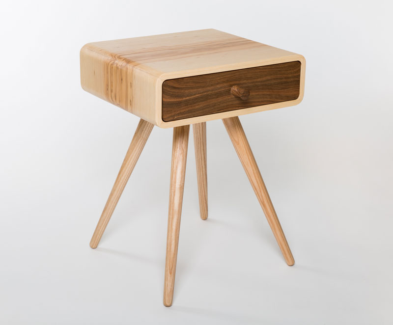 This little beauty make a perfect bedside table but will find use in many other places around your home.   Shown here in ash with a walnut drawer but also available in a range of other solid timbers as well as in birch ply.  material: ash, walnut  dimension: 400 w  350 d  525 h  price: from £550