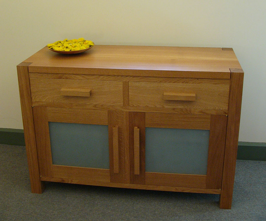 material: english oak, sand blasted glass dimensions: 1165 l 500 w 800 h price: from £2,400