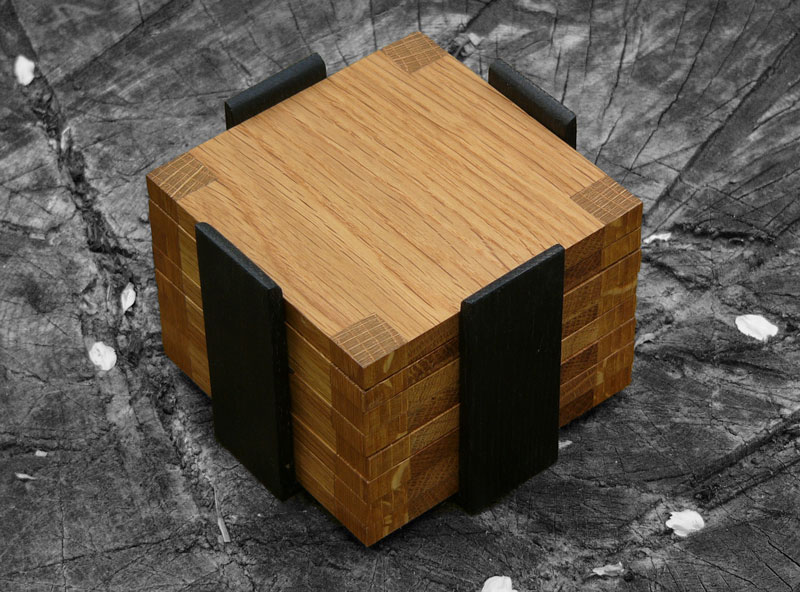 material: english oak, ebonized english oak dimensions: 100 l 100 w price: £40