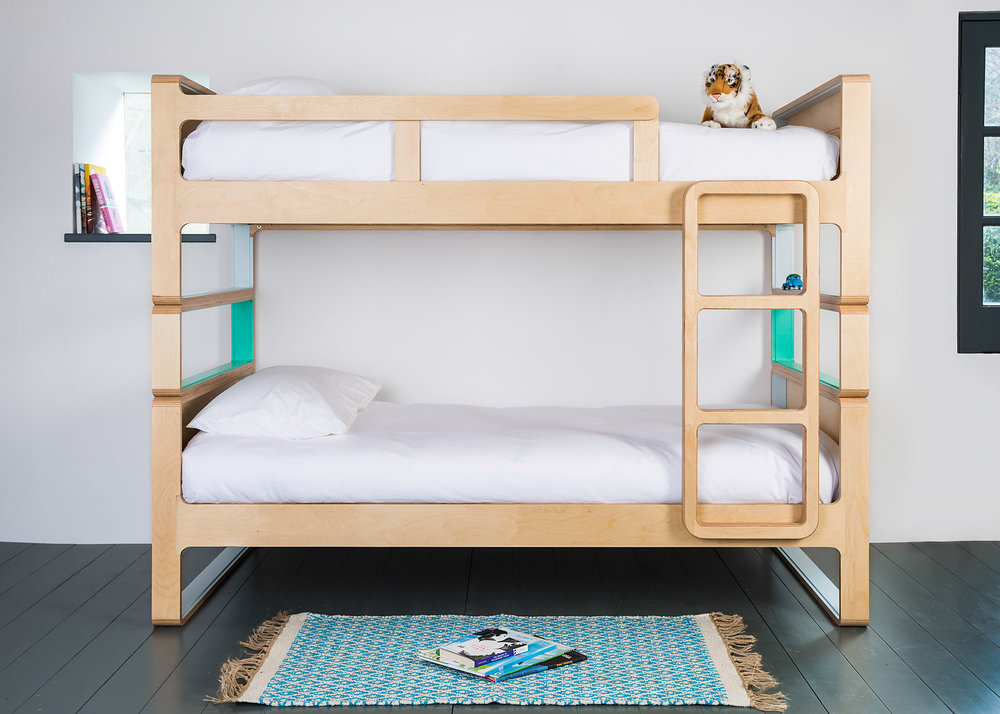 Stylish and superbly comfortable full size bunk beds with sprung beech slats. These separate down into two single beds.  material: birch ply  dimensions: l 2020  h 1600  d 980    to fit 900 x 1900 matress  price: from £1950