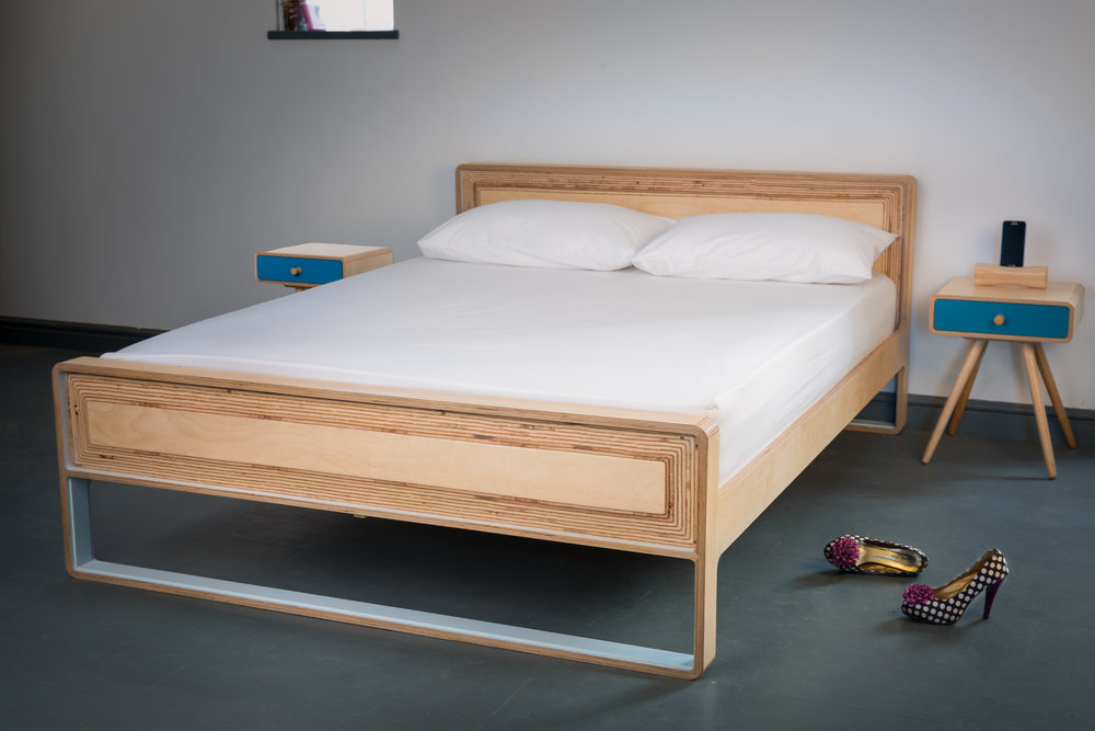 A king size double bed with sprung beach slats. The bed is separately sprung on either side for the ultimate in comfortable sleeping regardless of the size of your partner! Also available to fit a standard double or super king size mattress.  material: birch ply  dimensions: l 2165  h 770  d 1568  prices from: £1500