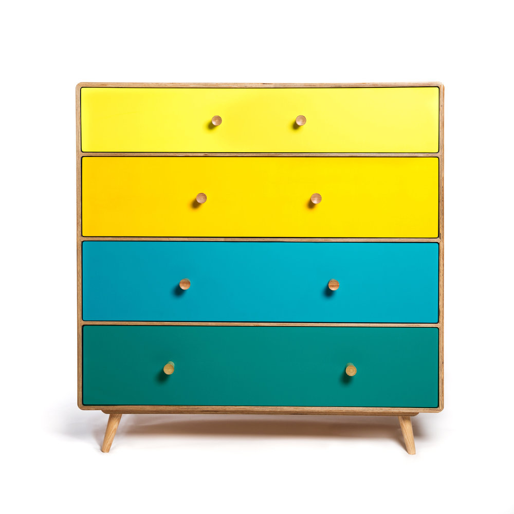 This handy set of drawers provides four opportunities to go mad with colour! You design it, we'll build it.  material: birch ply  dimensions: 1000 w   480 d   1030 h  price: from £1200