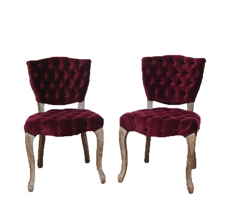 MERLOT tufted velvet chairs (2)