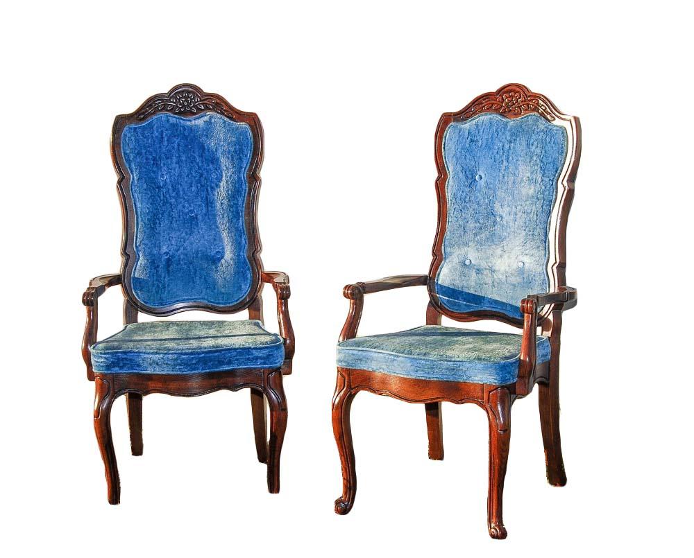BLUE VELVET high-back chairs (6)