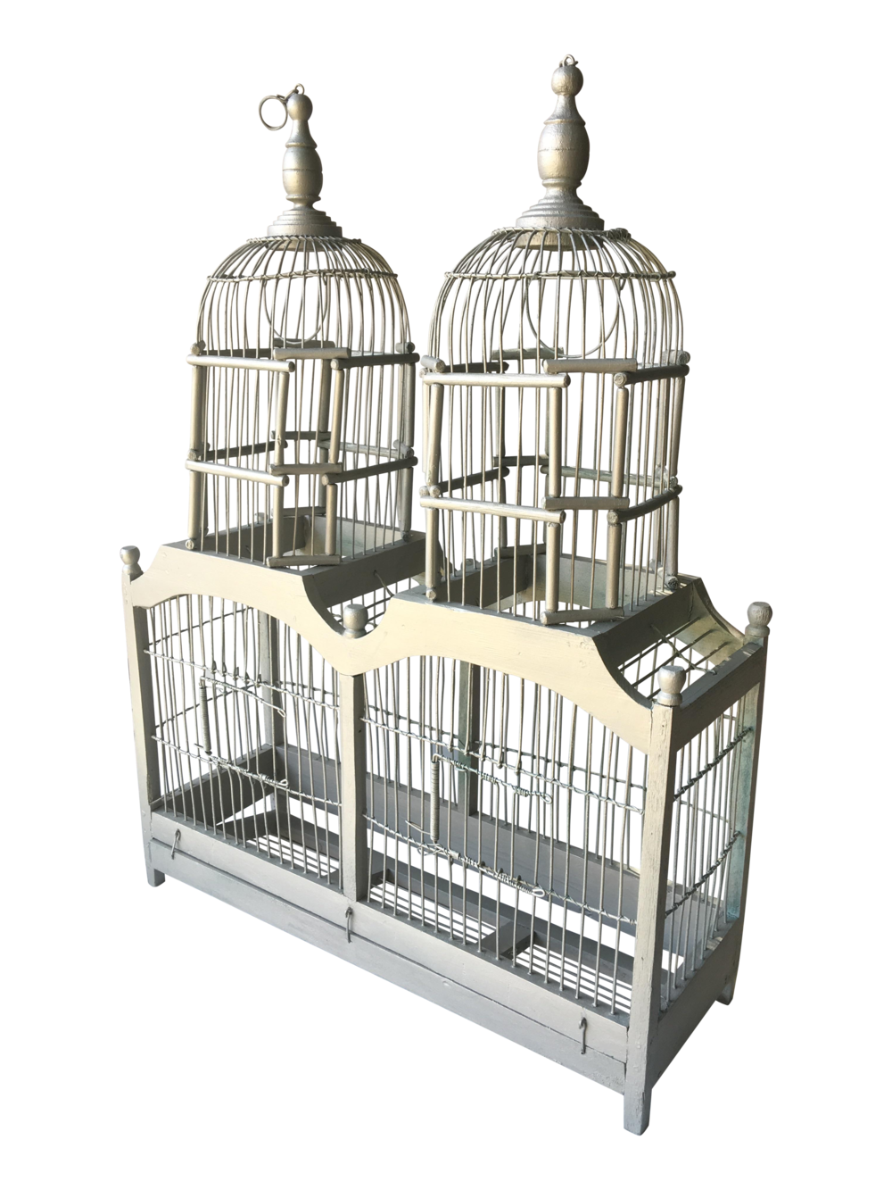 Vintage White Wooden Bird Cage